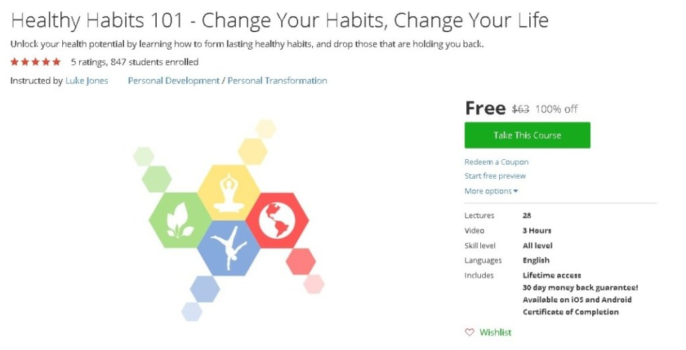 Free Udemy Course on Healthy Habits 101 - Change Your Habits, Change Your Life