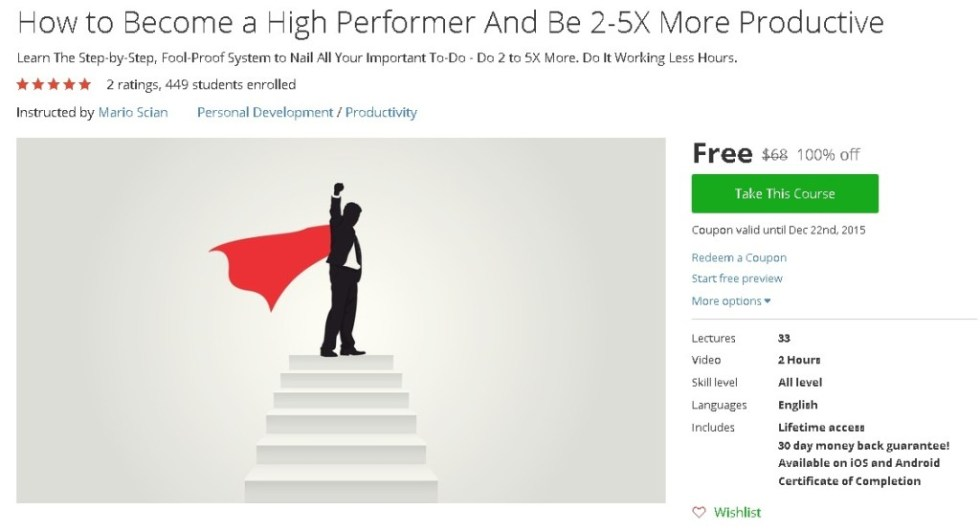 Free Udemy Course on How to Become a High Performer And Be 2-5X More Productive