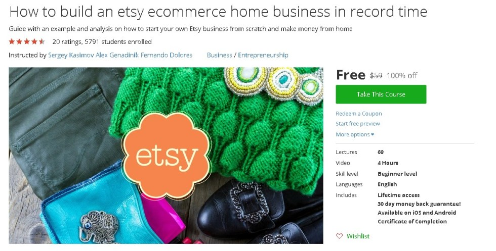 Free Udemy Course on How to build an etsy ecommerce home business in record time