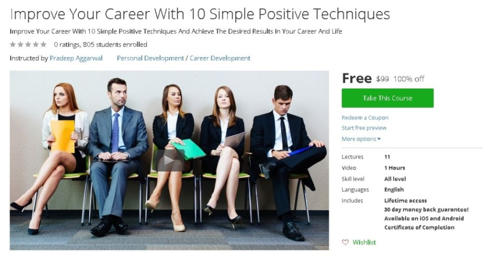 Free Udemy Course on Improve Your Career With 10 Simple Positive Techniques
