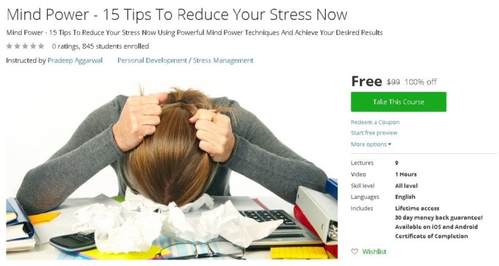 Free Udemy Course on Mind Power - 15 Tips To Reduce Your Stress Now