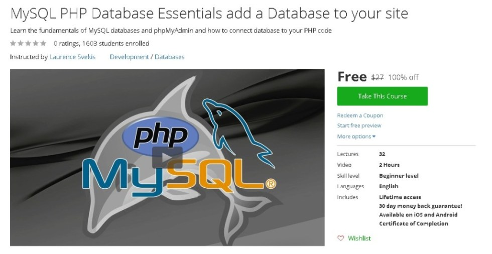 Free Udemy Course on MySQL PHP Database Essentials add a Database to your site