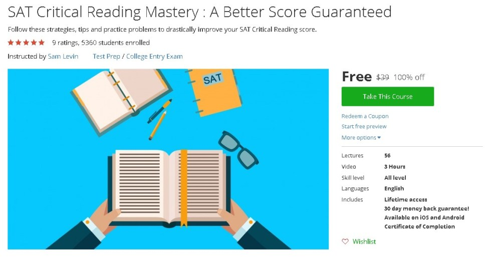 Free Udemy Course on SAT Critical Reading Mastery  A Better Score Guaranteed
