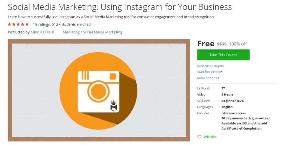 Free Udemy Course on Social Media Marketing Using Instagram for Your Business