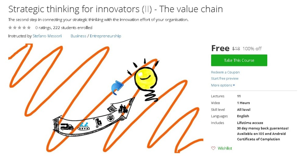 Free Udemy Course on Strategic thinking for innovators (II) - The value chain