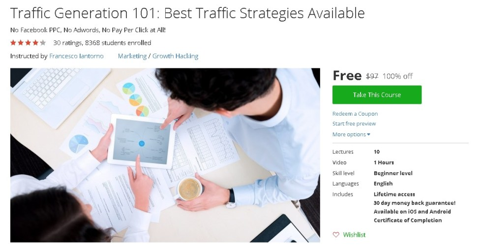Free Udemy Course on Traffic Generation 101 Best Traffic Strategies Available