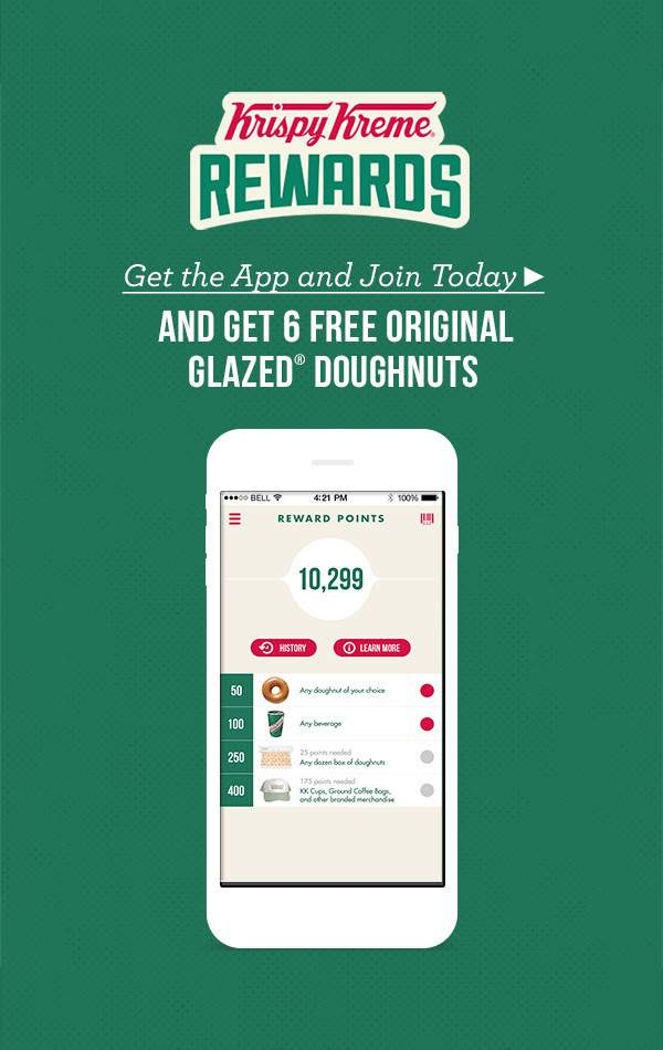 Get 6 Free Original Glazed Doughnuts at Krispy Kreme Rewards