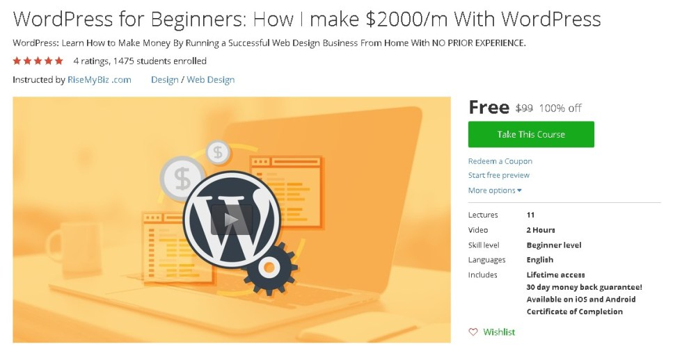 WordPress for Beginners How I make $2000m With WordPress @ Udemy