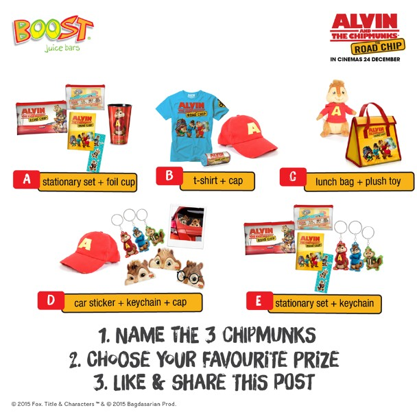 Alvin and The Chipmunks The Road Chip premiums to giveaway at Boost Juice Bars