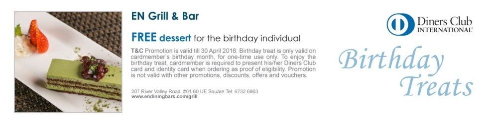 FREE dessert platter for the birthday individual at EN Grill & Bar for Diners Singapore