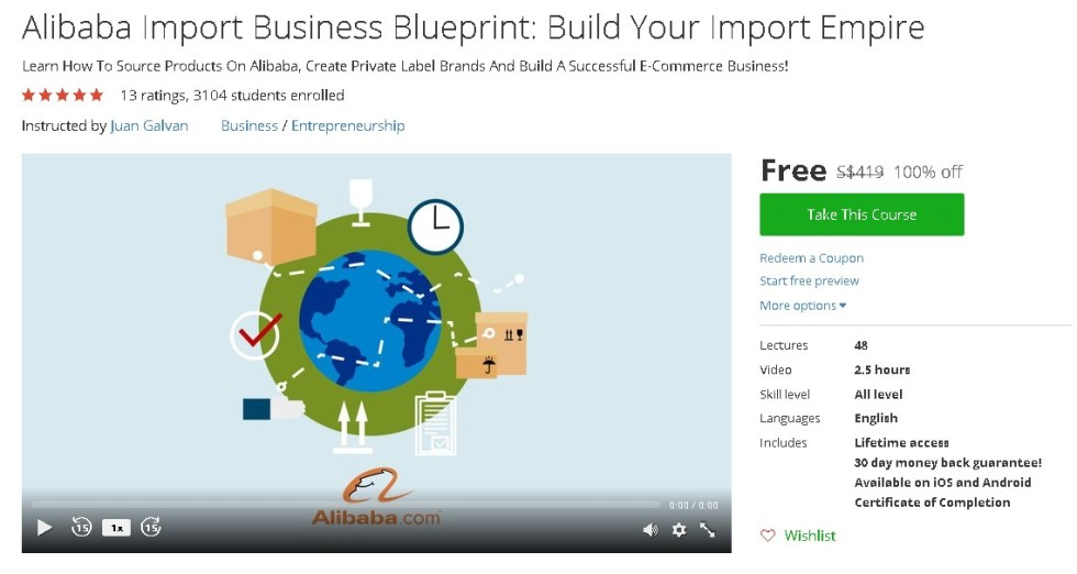 Free Udemy Course on Alibaba Import Business Blueprint Build Your Import Empire