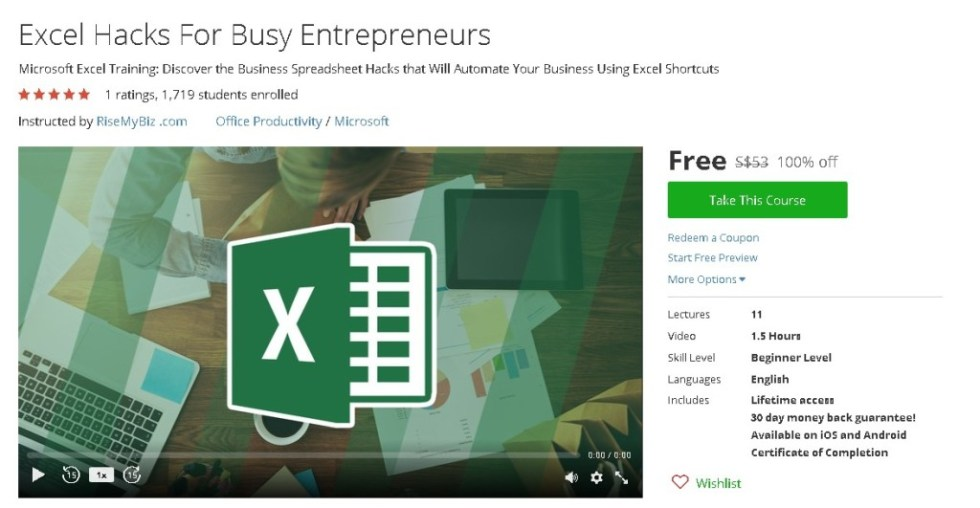 Free Udemy Course on Excel Hacks For Busy Entrepreneurs