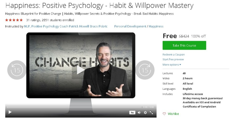 Free Udemy Course on Happiness Positive Psychology - Habit & Willpower Mastery