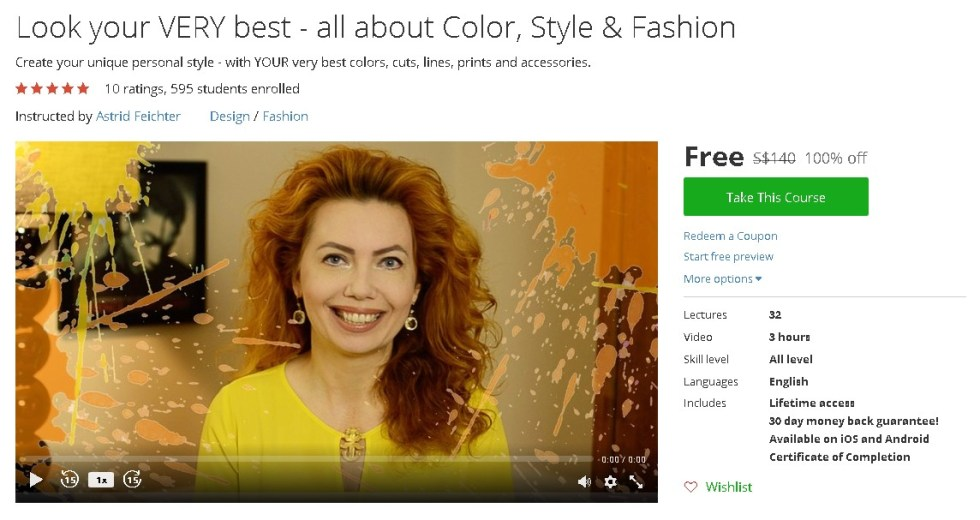 Free Udemy Course on Look your VERY best - all about Color, Style & Fashion