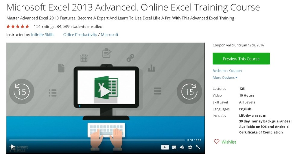 Free Udemy Course on Microsoft Excel 2013 Advanced. Online Excel Training Course