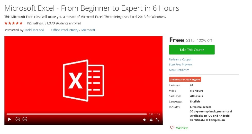 Free Udemy Course on Microsoft Excel - From Beginner to Expert in 6 Hours