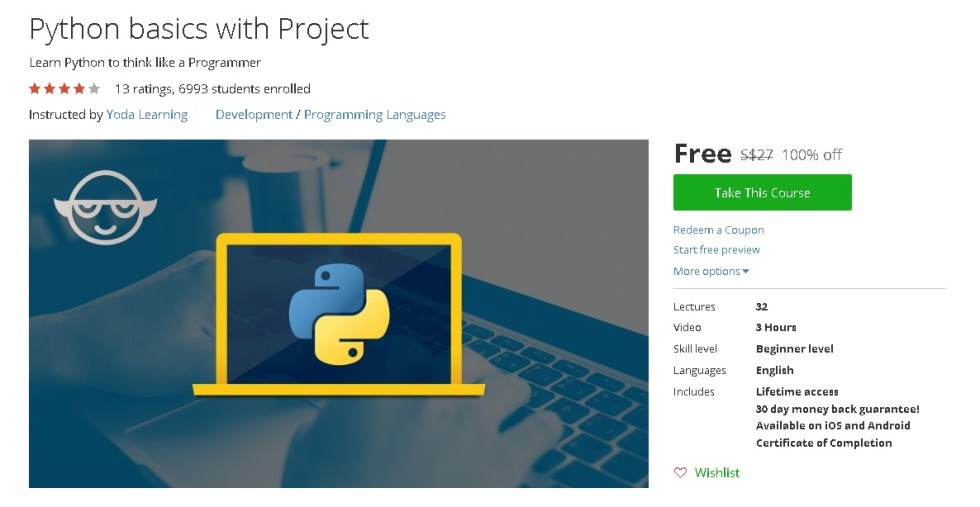 Free Udemy Course on Python basics with Project