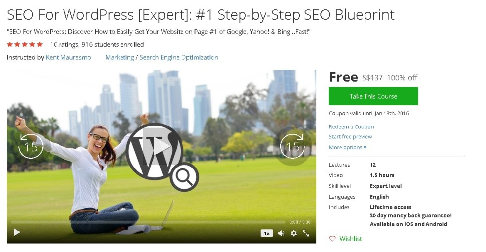 Free Udemy Course on SEO For WordPress [Expert] #1 Step-by-Step SEO Blueprint