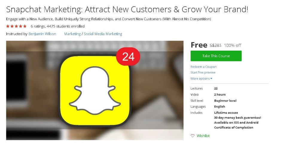 Free Udemy Course on Snapchat Marketing Attract New Customers & Grow Your Brand!