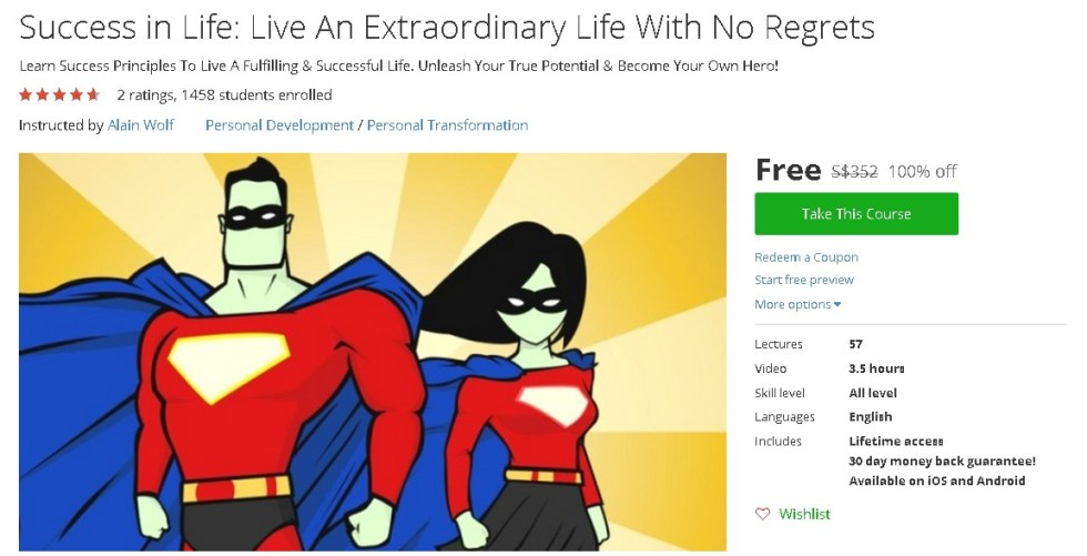 Free Udemy Course on Success in Life Live An Extraordinary Life With No Regrets