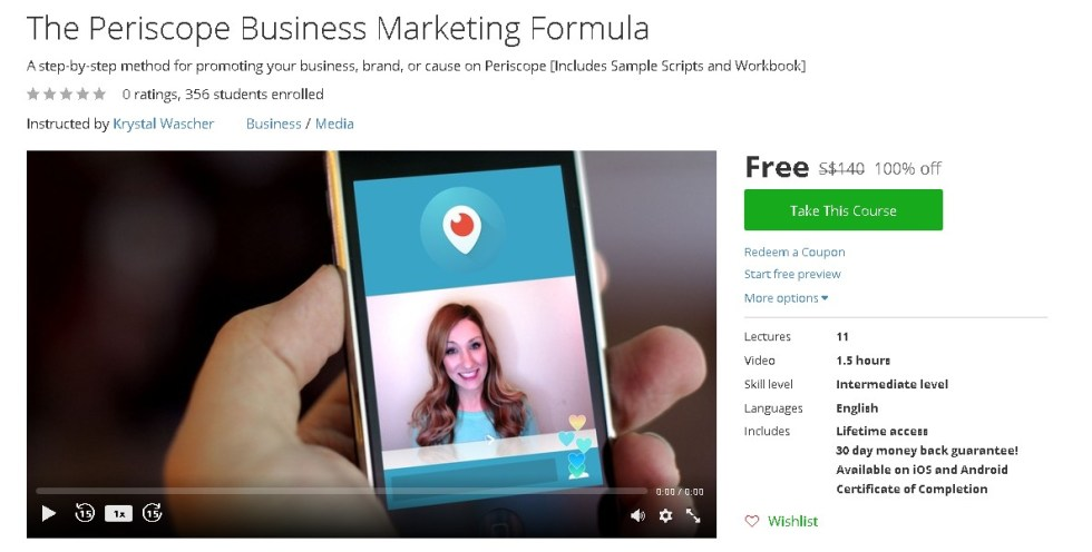 Free Udemy Course on The Periscope Business Marketing Formula