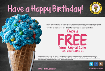 Get FREE ice cream just for signing up Slab Happy Rewards at Marble Slab Creamery