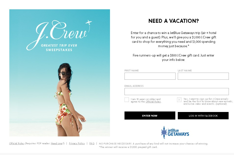 J.Crew Greatest Trip Ever Sweepstakes