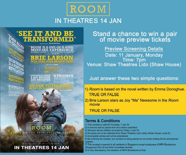 ROOM Movie Preview Tickets Giveaway Contest at MPH Bookstores Singapore #giftout