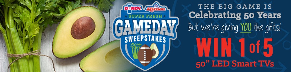 Super Fresh Game Day Sweepstakes Sponsored by Duda Farm Fresh Foods and Mission Produce