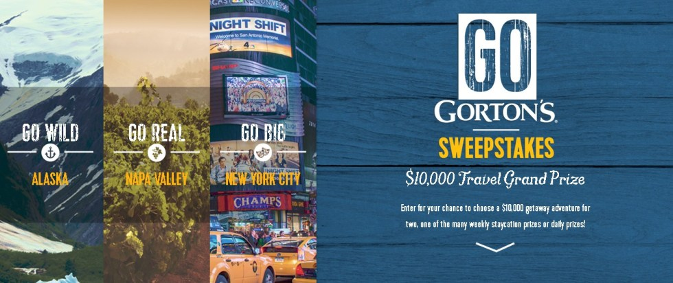 Win the Go Gorton's Daily and Weekly Prize Sweepstakes $10,000 Travel Grand Prize