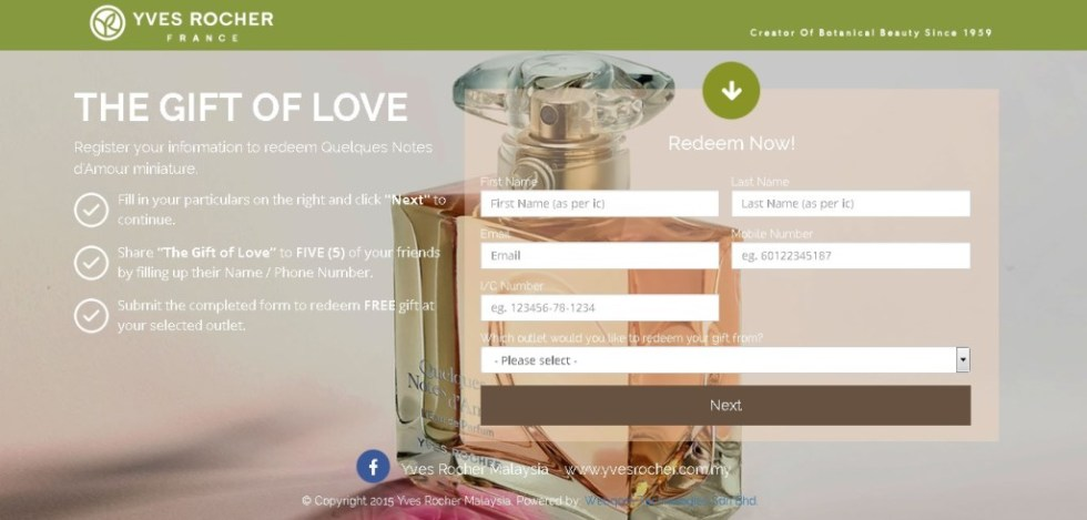 Redeem Quelques Notes d'Amour miniature sample Yves Rocher Malaysia