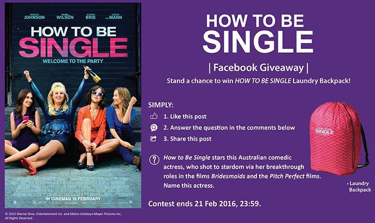 Stand a chance to win HOW TO BE SINGLE Laundry Backpack!