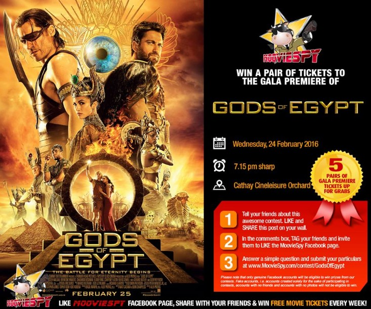 Win a pair of tickets to the Gala Premiere of Gods of Egypt at MoovieSpy