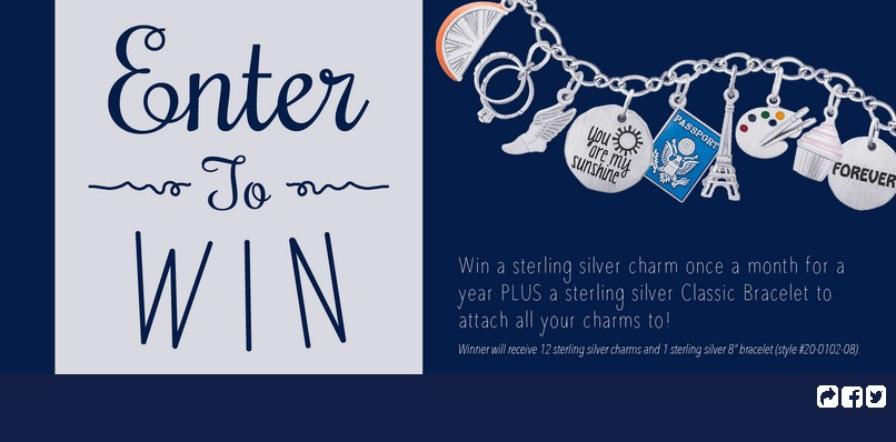 Win a sterling silver charm one a month for a year at Rembrandt Charms