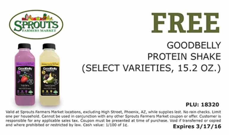 Free Goodbelly Protein Shake at Sprouts