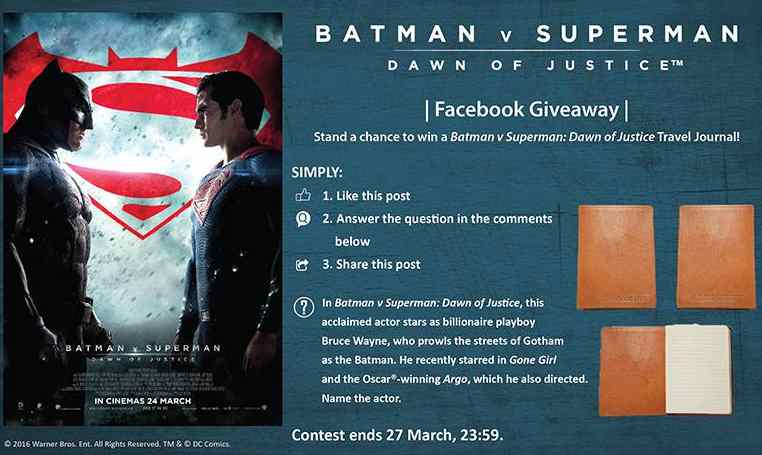 Stand a chance to win a BATMAN v SUPERMAN DAWN OF JUSTICE travel journal