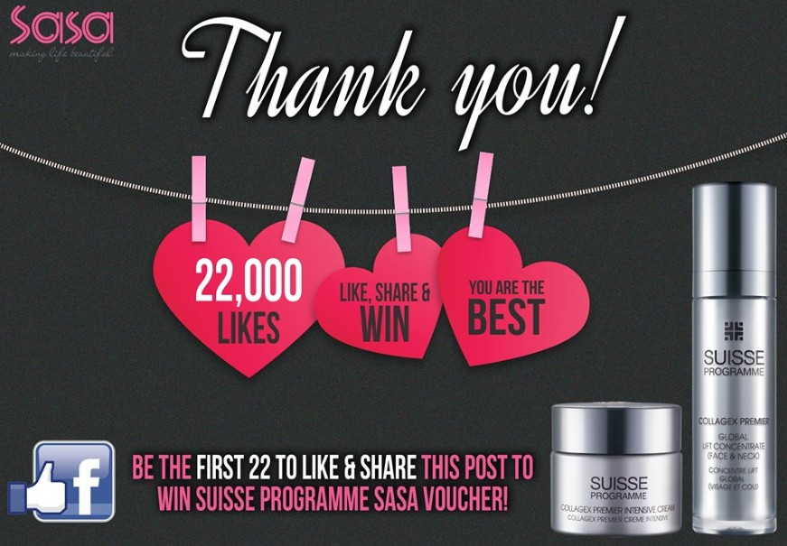 Win $30 Suisse Programme voucher at Sasa Singapore