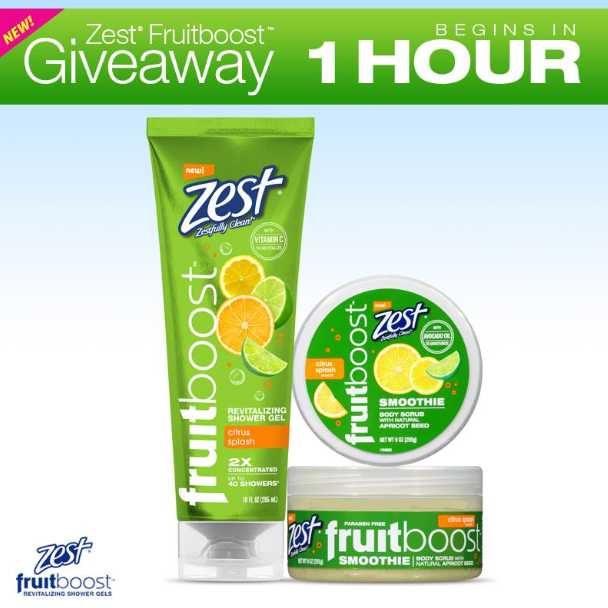 Zest New Citrus Splash Fruitboost Revitalizing Shower Gel Giveaway