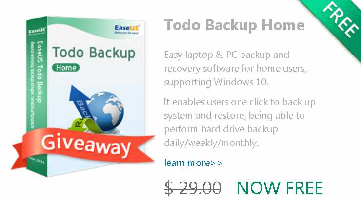 48-hour Giveaway of EaseUS Todo Backup Home