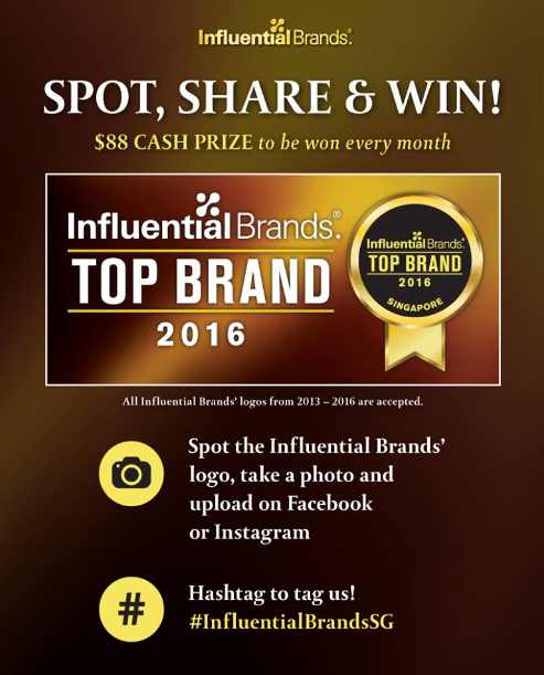 Share a photo of the Influential Brands' logo and stand a chance to win $88 CASH PRIZE every month