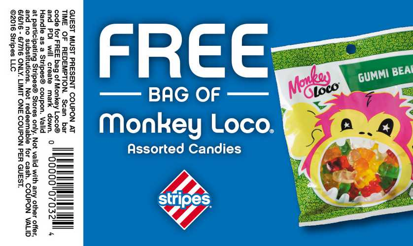 #Free Monkey Loco Gummi Bears at Stripes