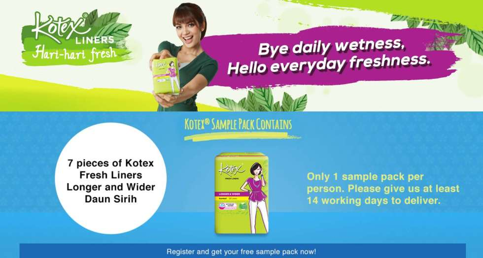 #Free Kotex Sample Pack- 7 Pieces of Kotex Fresh Liners