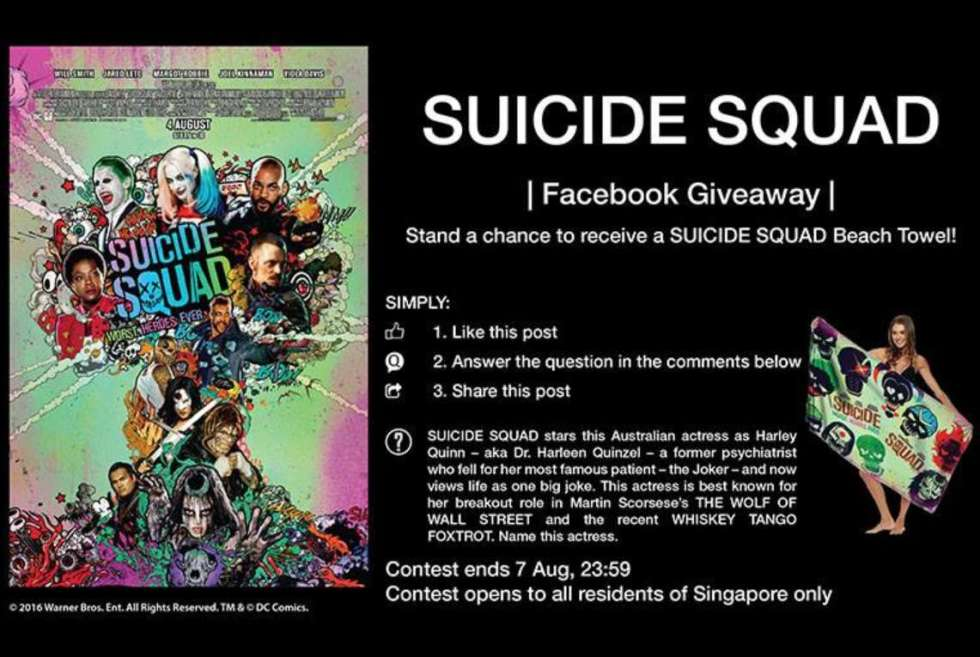 Stand a chance to receive a SUICIDE SQUAD beach towel at Filmgarde Cineplex