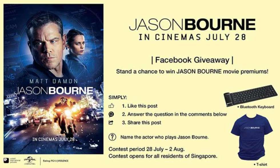 Stand a chance to win JASON BOURNE movie premiums!