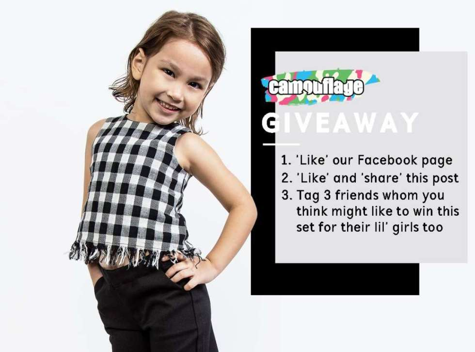 Stand to WIN one set of Emily Checkered Fringe Top & Debbie Cropped Pants at Camouflage Kids