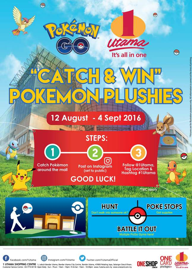 Catch & Win Pokemon Plushies at 1 Utama #Malaysia