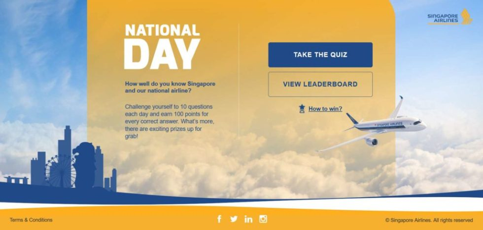 Challenge yourself to 10 questions each day and earn 100 points for every correct answer at Singapore Airlines
