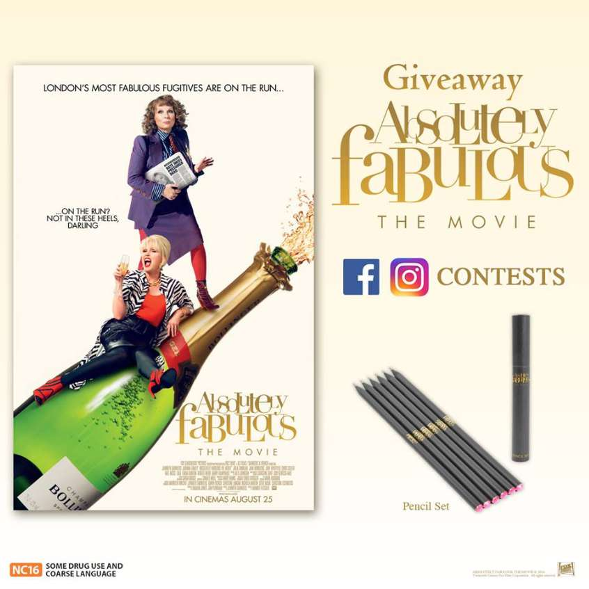 Stand a chance to #WIN Absolutely Fabulous The Movie collectibles at Cathay Cineplexes