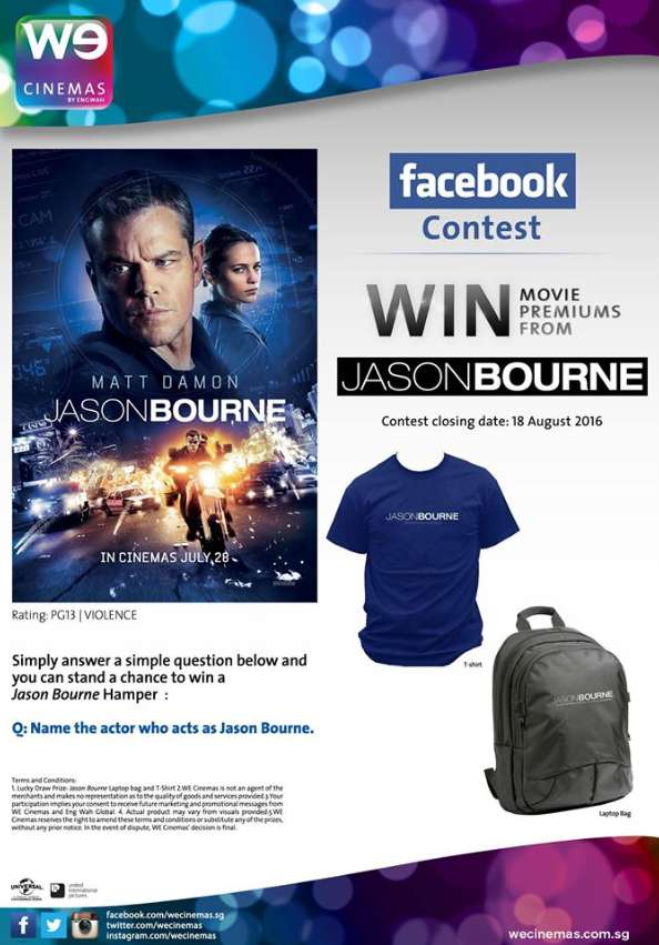 #WIN Jason Bourne premiums at WE Cinemas