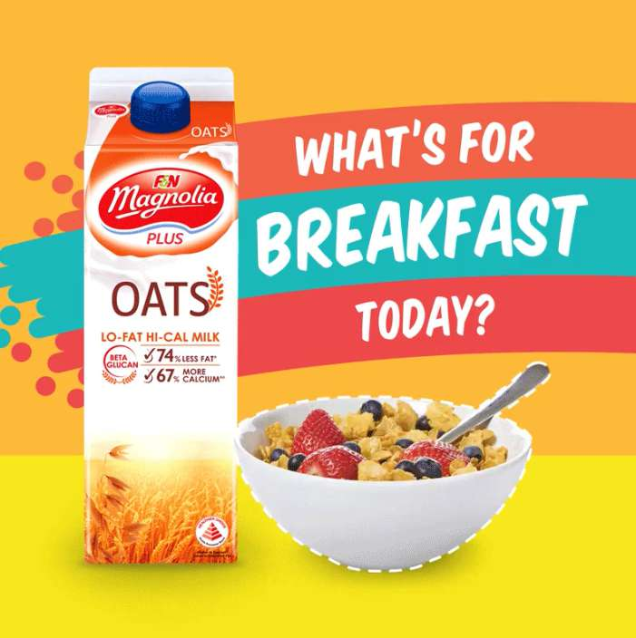 Which breakfast combo should you get with your Magnolia Plus Oats Lo-Fat Hi Cal Milk today